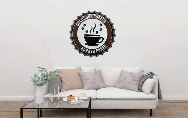 Delicious Coffee Beer Cap Metal Tin Sign Poster