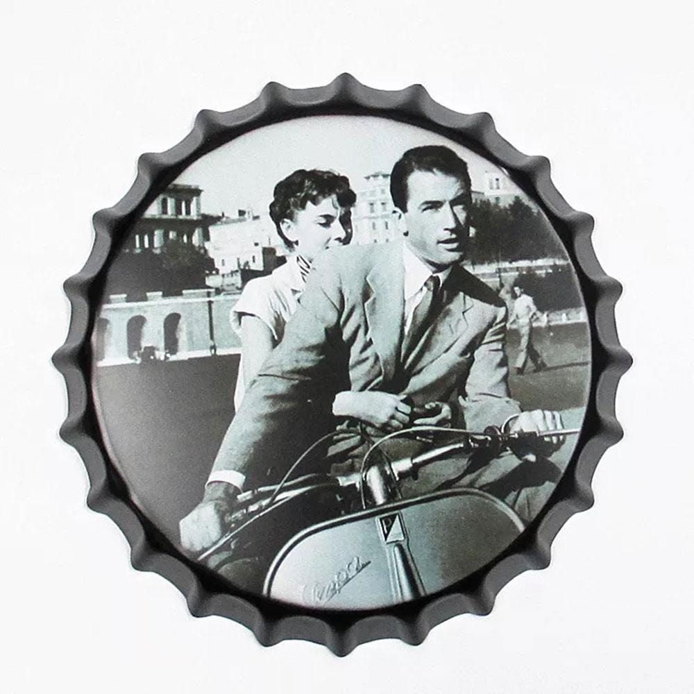 Couple On Scooter Beer Cap Metal Tin Sign Poster
