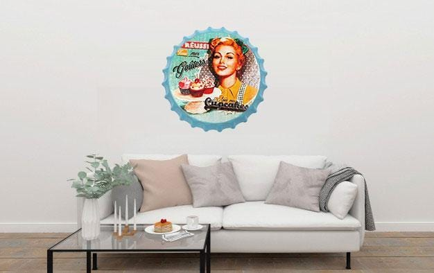 Cupcakes Beer Cap Metal Tin Sign Poster