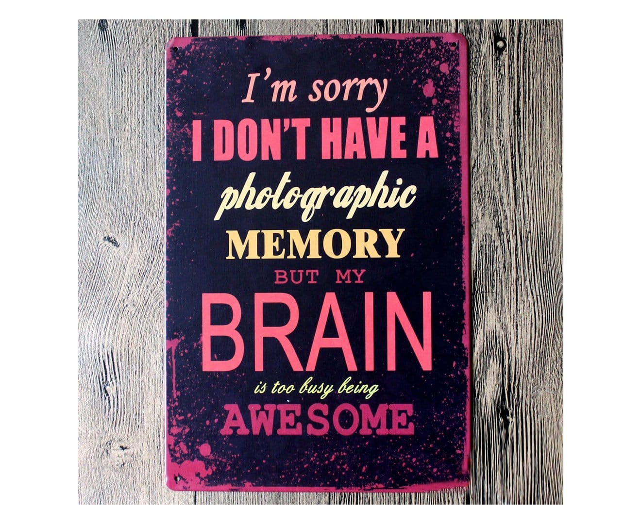 Brain Quote metal Tin Poster