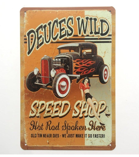 HOT Rod Spped Shop Metal Tin Poster