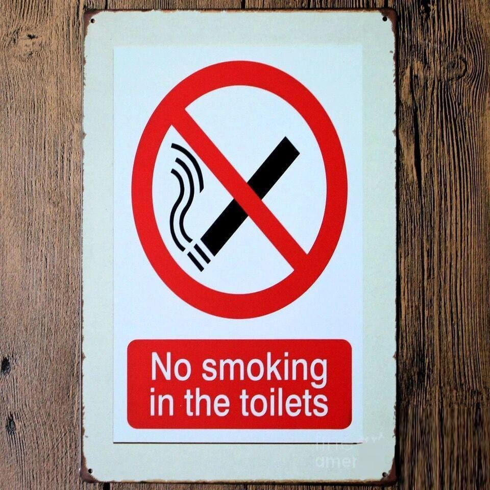 No Smoking in Toilets Sign Tin Poster