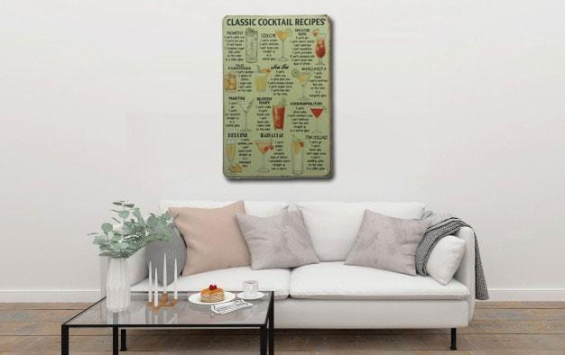 Cocktail Recipes Metal Tin Sign Poster