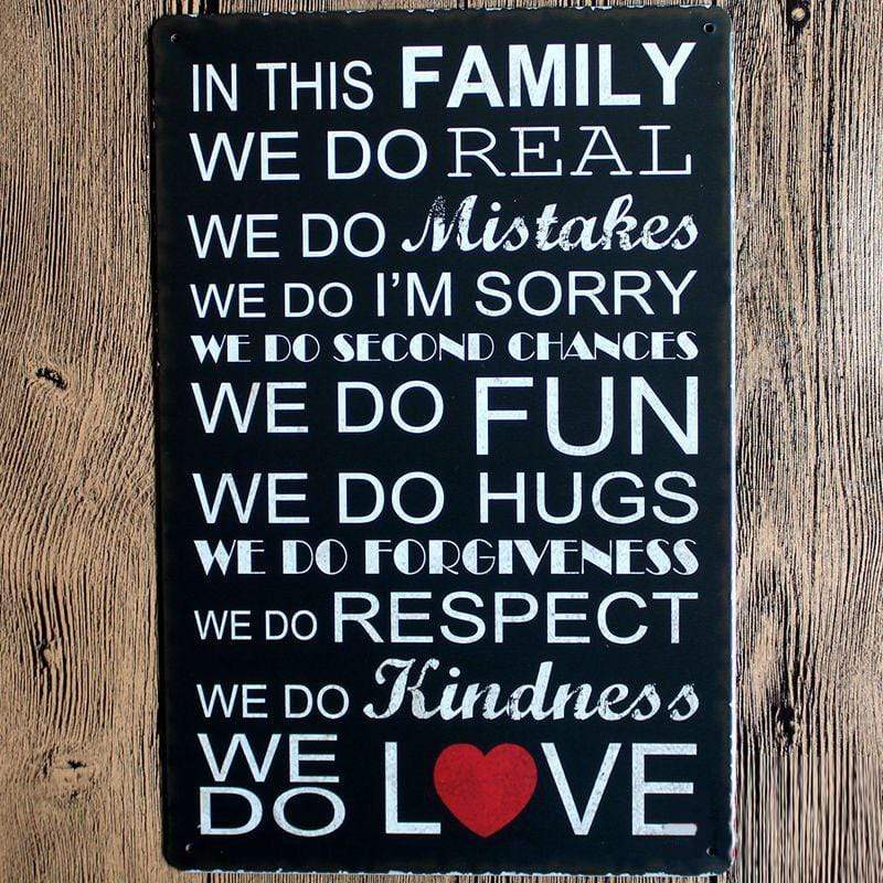 Family Love Quote Metal Tin Sign Poster