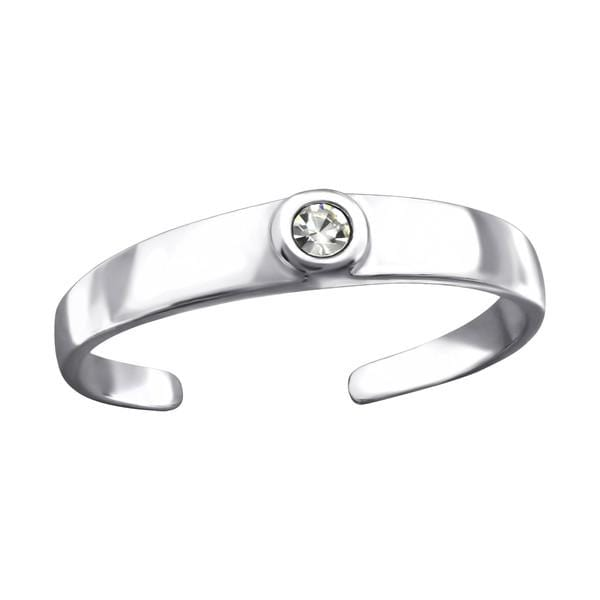 Sterling Silver Crystal Round Toe Ring