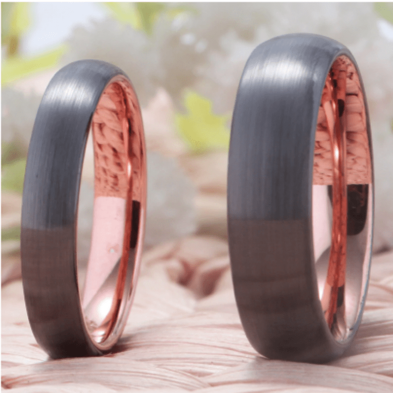 Tungsten 8mm Rose Gold Wedding Ring for Men