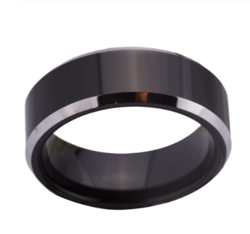 Tungsten Black Silver Wedding Ring