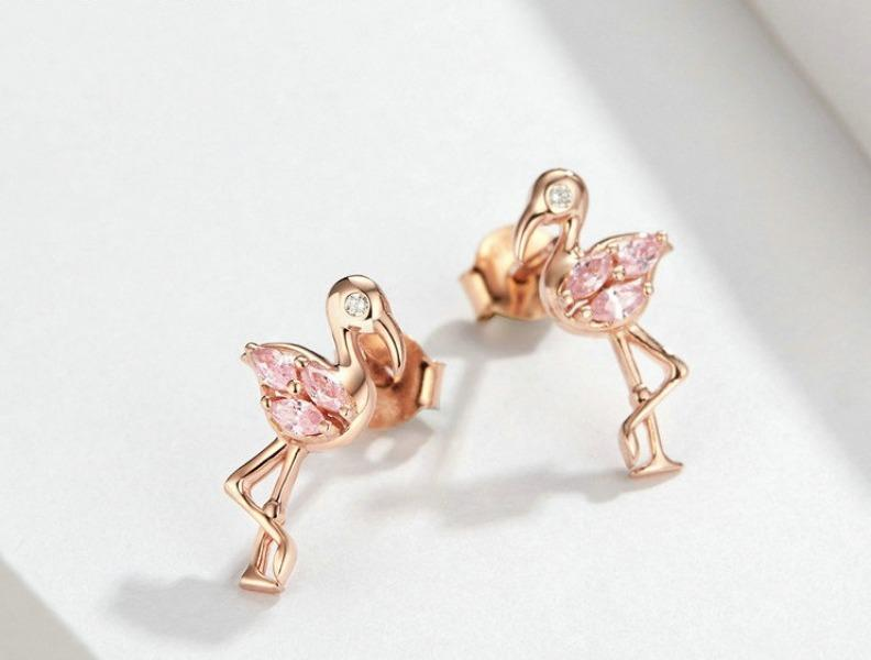 Rose Gold Flamingo Earrings