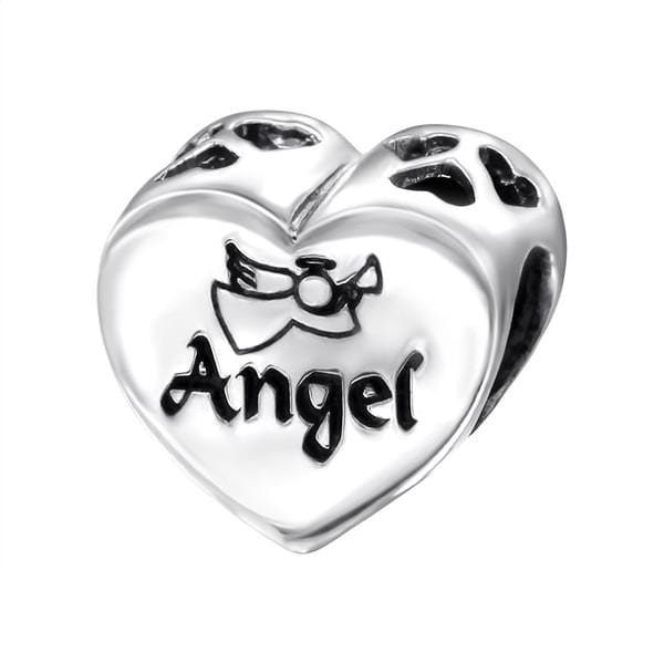 Silver Heart Angel Charm Bead