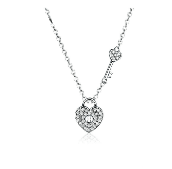 Diamante Lock and Key  Pendant Necklace