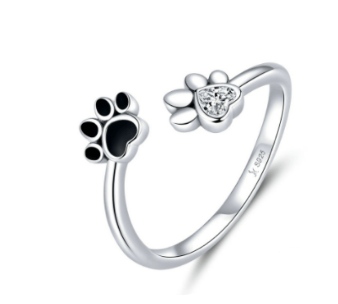 Silver Paw Print Ring