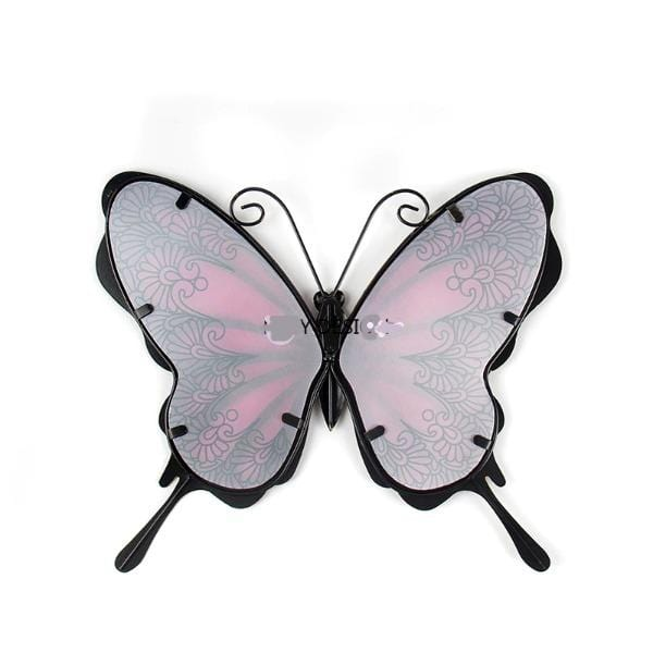 Pink & Blue Vintage Butterfly Metal Wall Art
