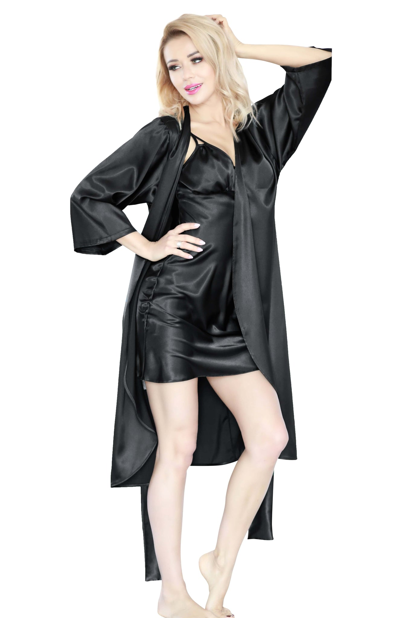 Elegant Long  luxury Satin Dressing Gown