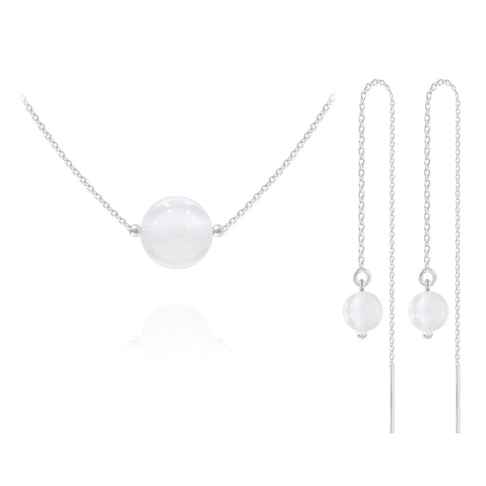 Round Beads Silver Jewelry Set