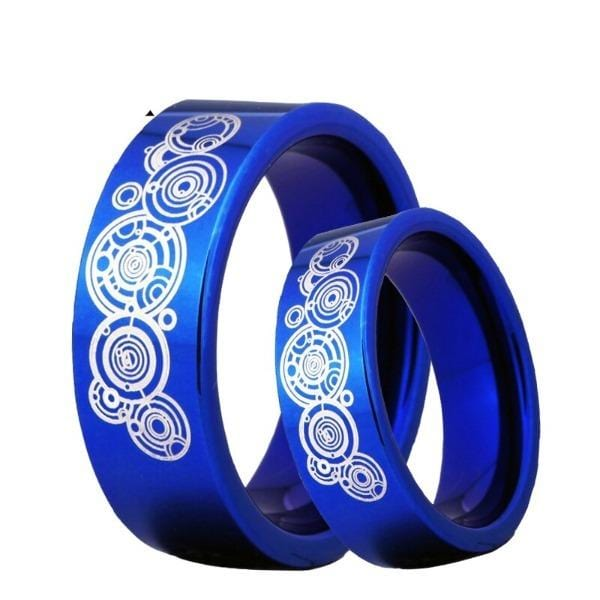 Tungsten 8mm Blue Doctor Who Wedding Bands