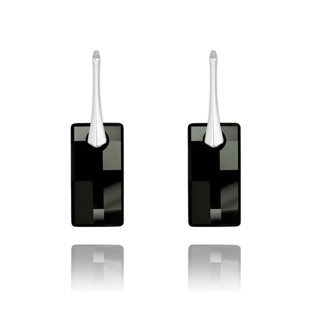 Silver Leverback Jet Earrings