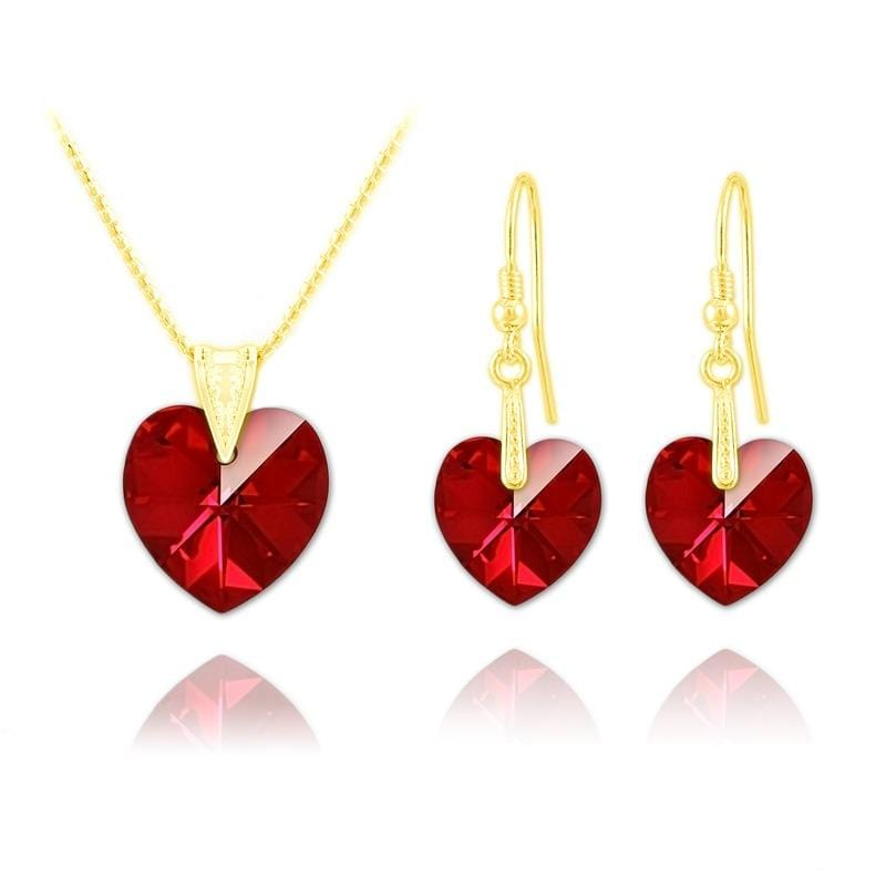 24K Gold Heart  Pendant Necklace Jewellery Set  Siam