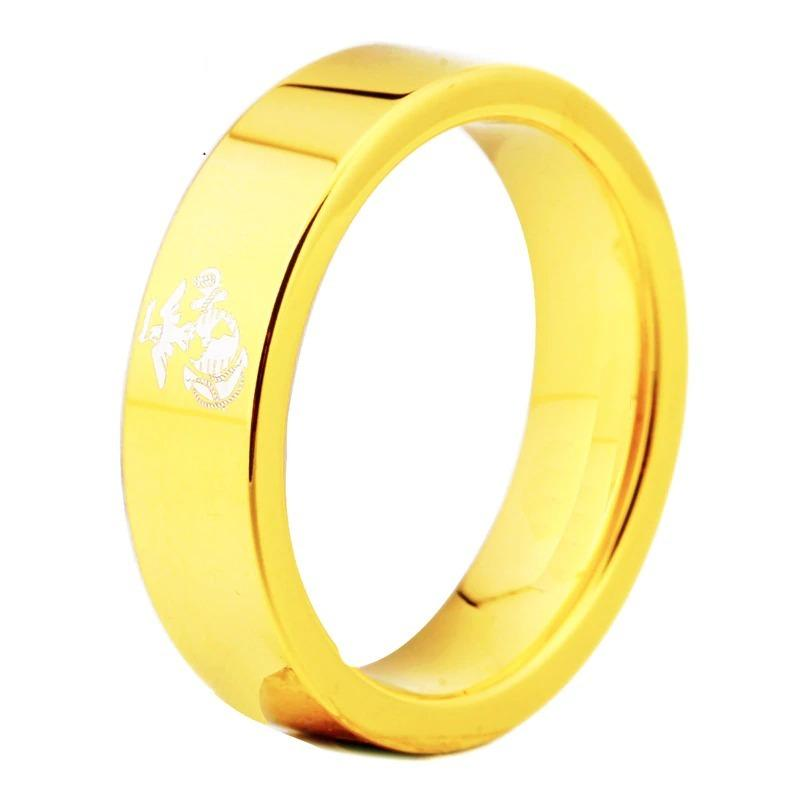 Tungsten Gold Mens Army Ring
