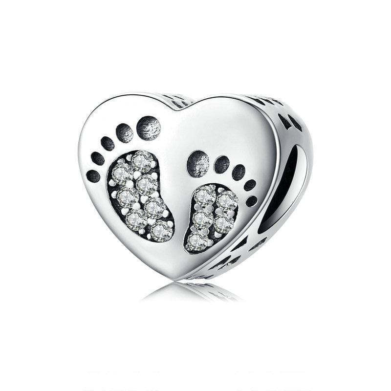 Silver Footprints Heart Charm