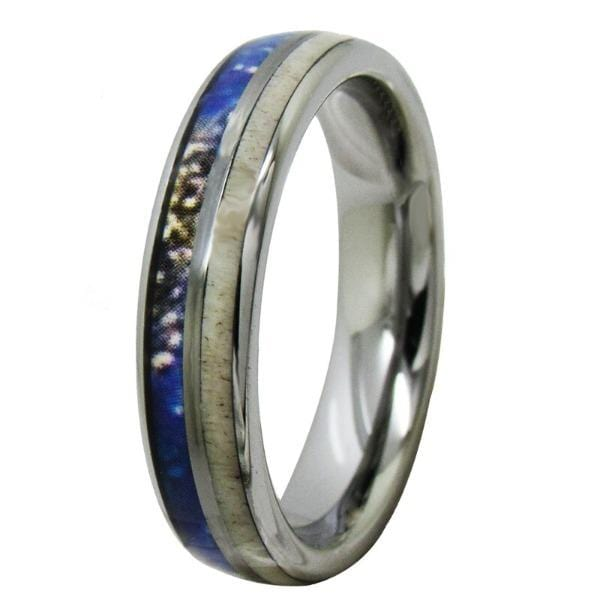 Tungsten 5mm Antler Inlay Silver Wedding Bands