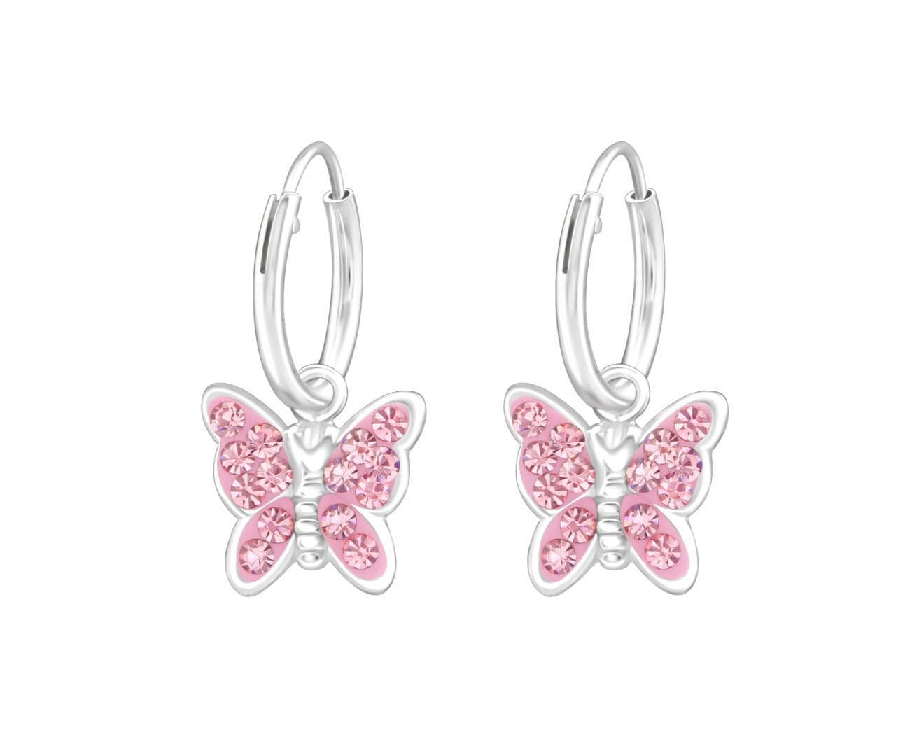 Children's Silver Crystal Butterfly Hanging Hoops