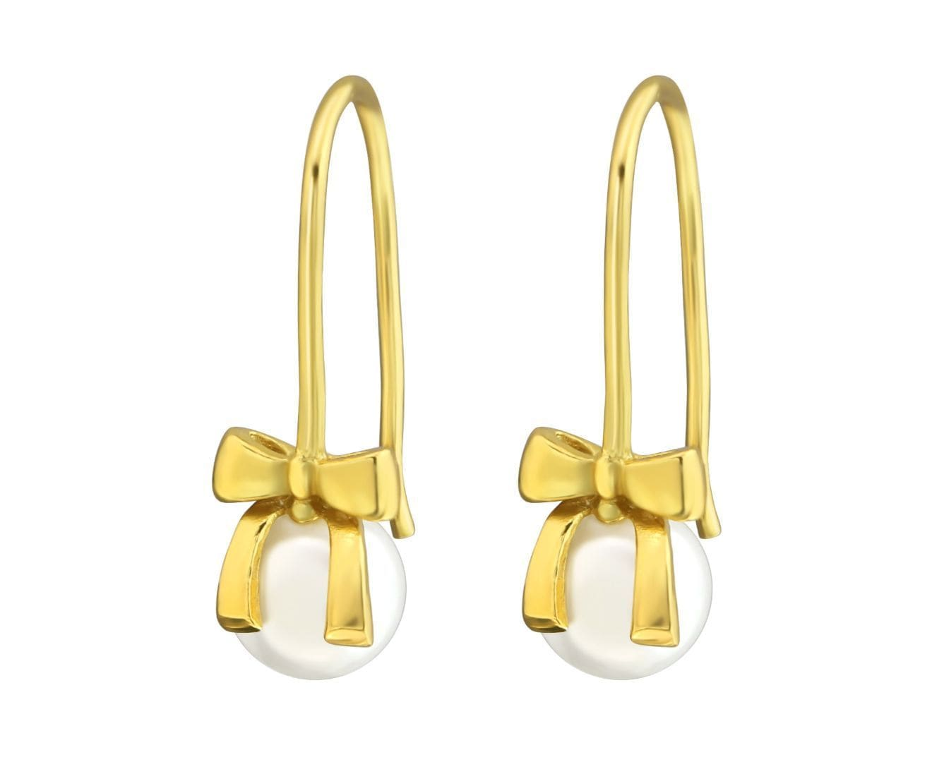 Gold plated Silver Hanging Bow Earrings with Pearl
