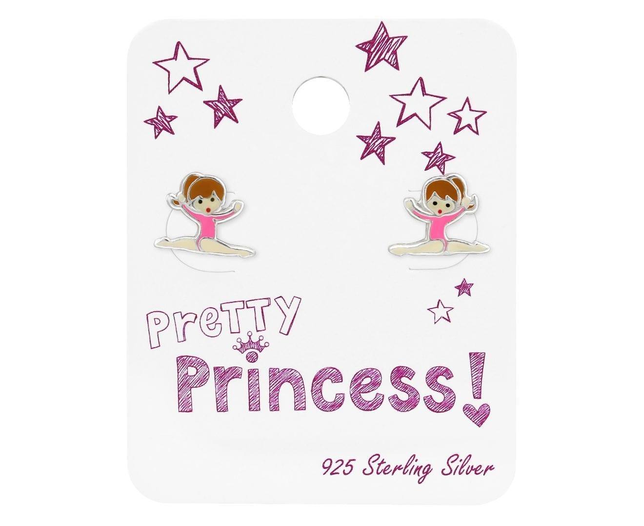 Kids Silver Gymnastics Girl Princess Earrings
