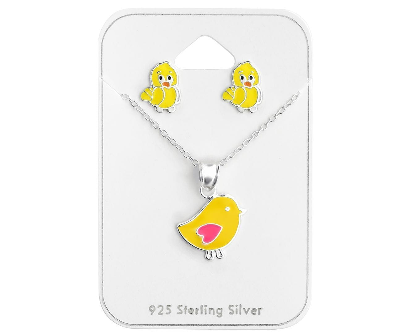 Silver Chicken Pendant Necklace Set for Kids