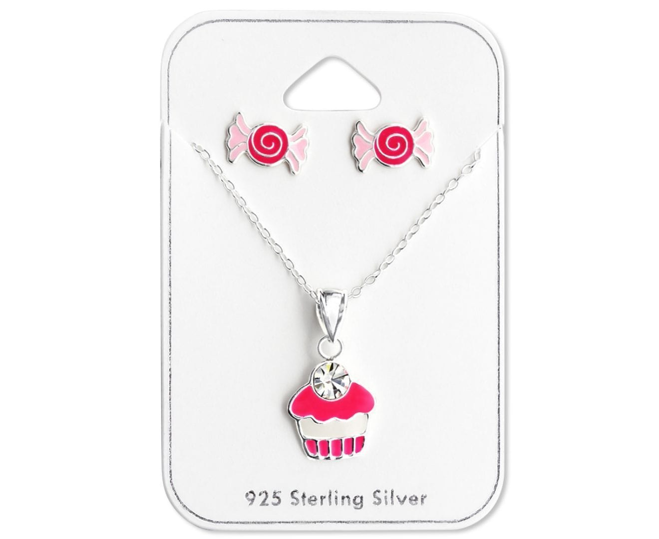 Sterling Silver Kids Candy Pendant Necklace Jewelry set