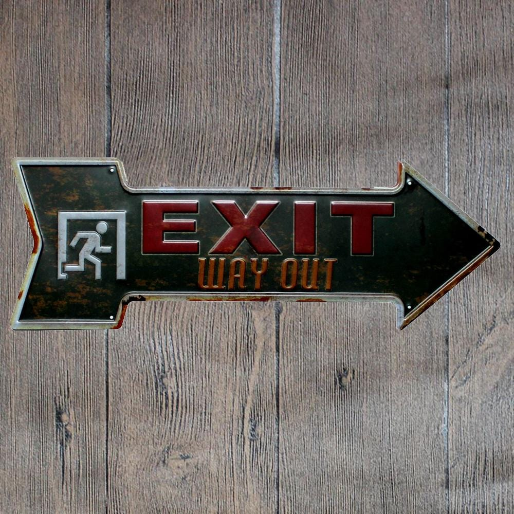 Exit - way Out - Arrow Metal Tin Sign Poster