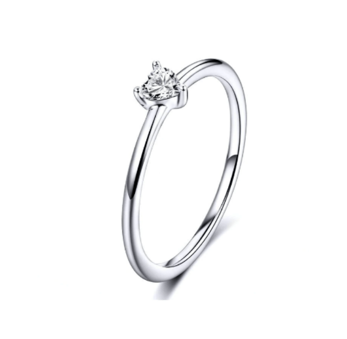 Silver simple engagement ring