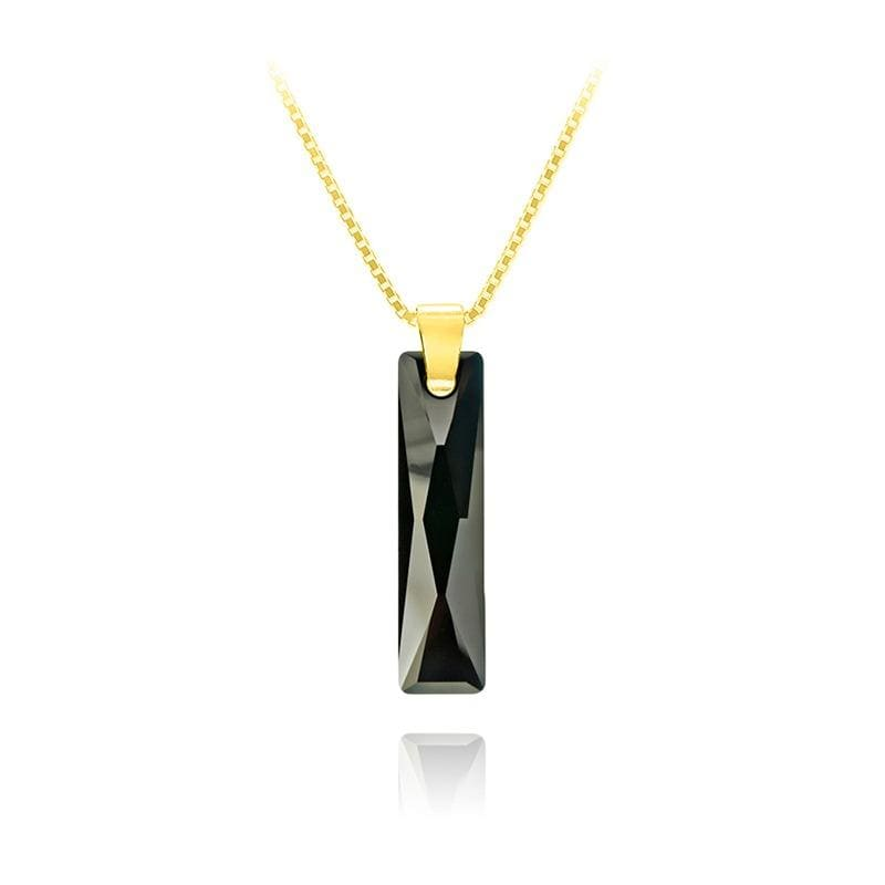 Jet And 24K Gold Necklace