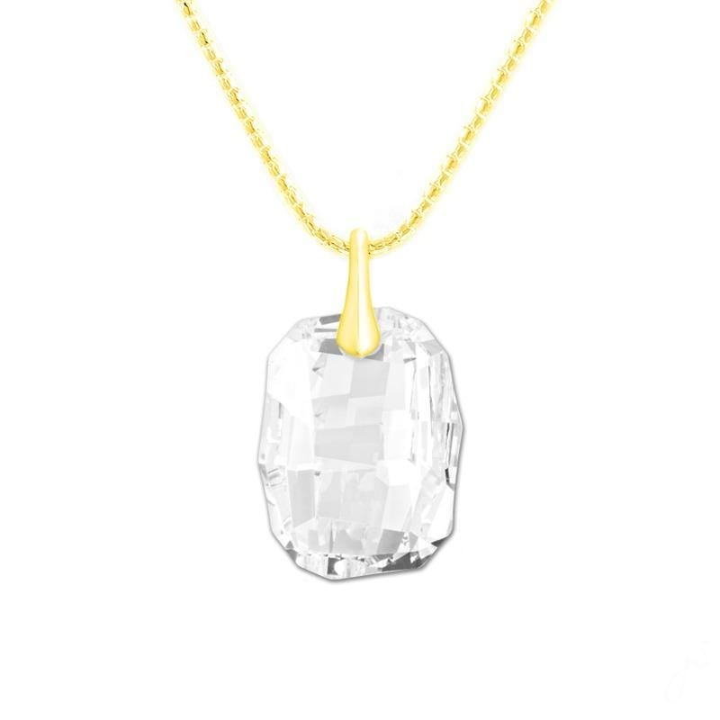 24K Gold white Crystal Pendant Necklace Jewellery Set