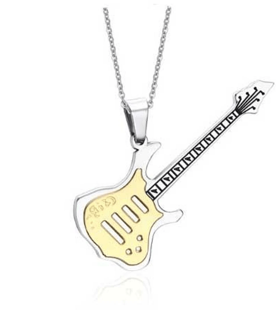 Stainless Steel Guitar Pendant Necklaces for Men