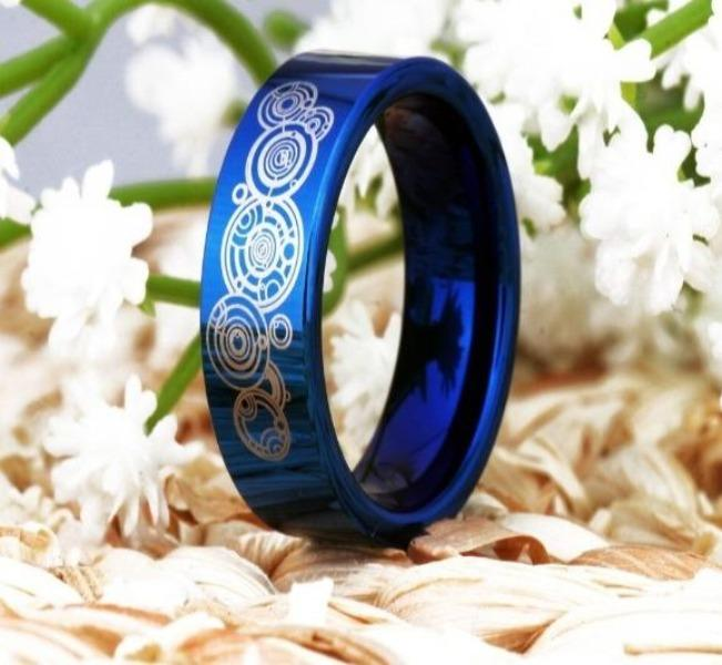 Tungsten 6mm Blue Doctor Who Wedding Bands