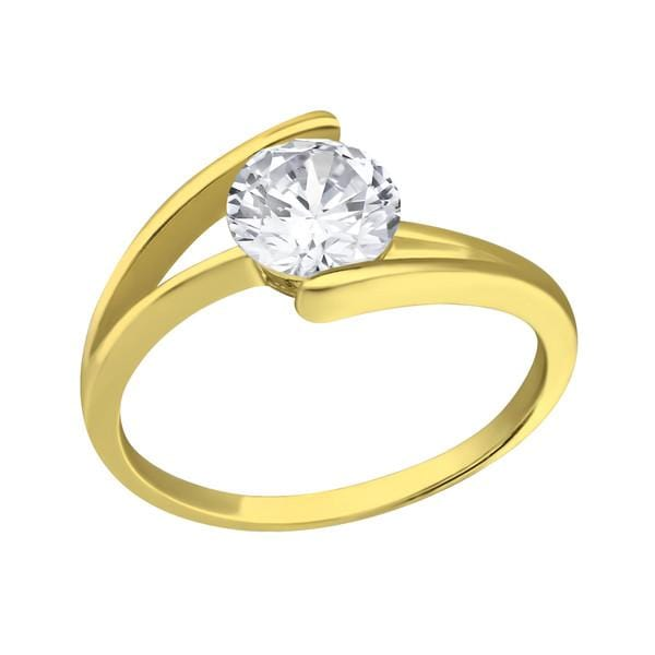 Silver  Gold Solitaire Engagement  Ring