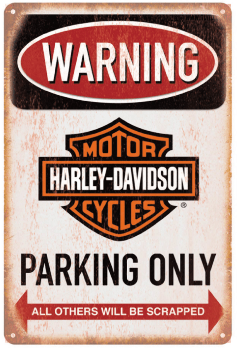 Harley Davidson Parking Only Sign Metal Poster