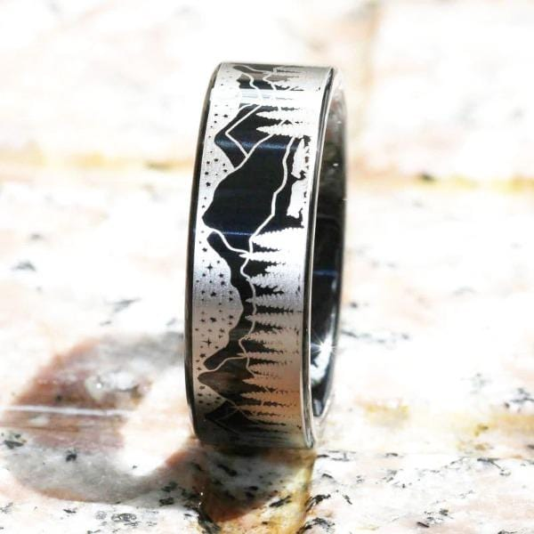Tungsten Black Detailed Wolf Ring