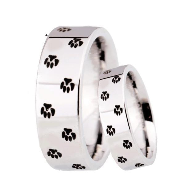 Tungsten 6mm Paw Print Silver Wedding Bands