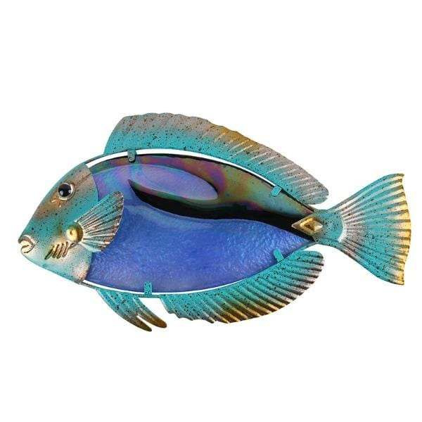 Green and Gold Fish Metal Wall Art