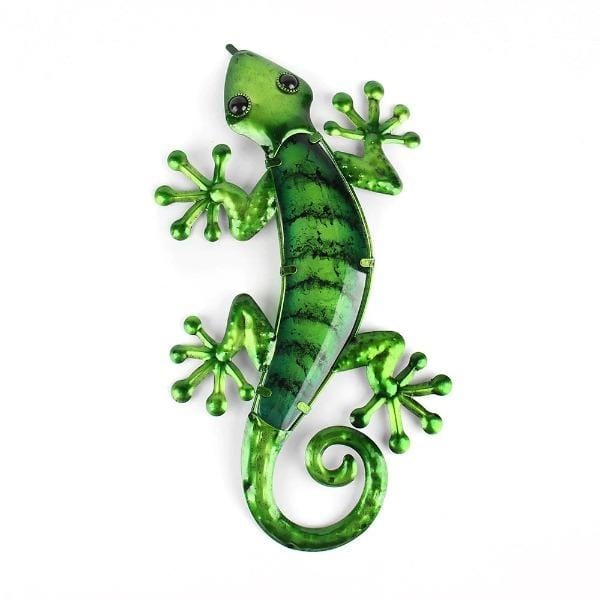 Blue & Green Striped Gecko Metal Wall Art