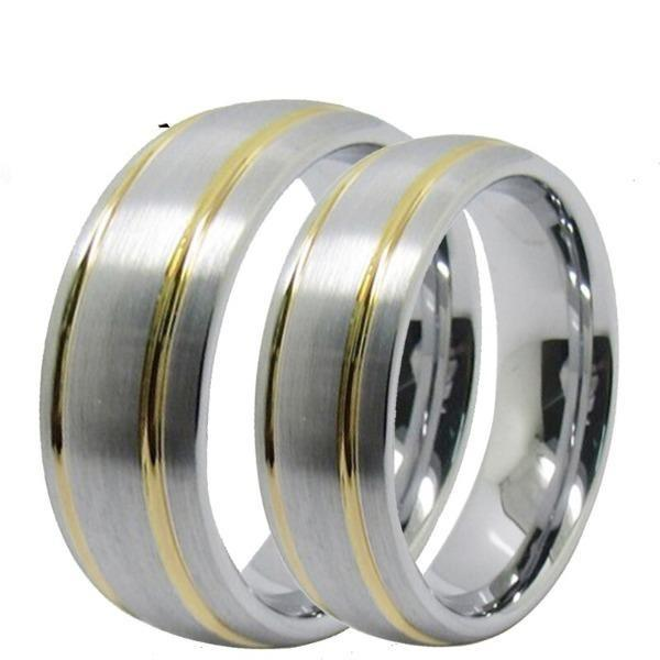 Tungsten 6mm Gold and Silver Wedding Bands
