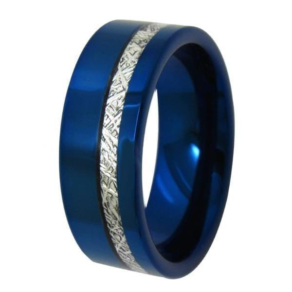 Tungsten Blue Pipe Meteorite Inlay Ring