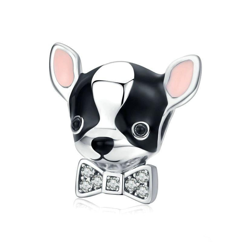 Colorful Silver Puppy Charm