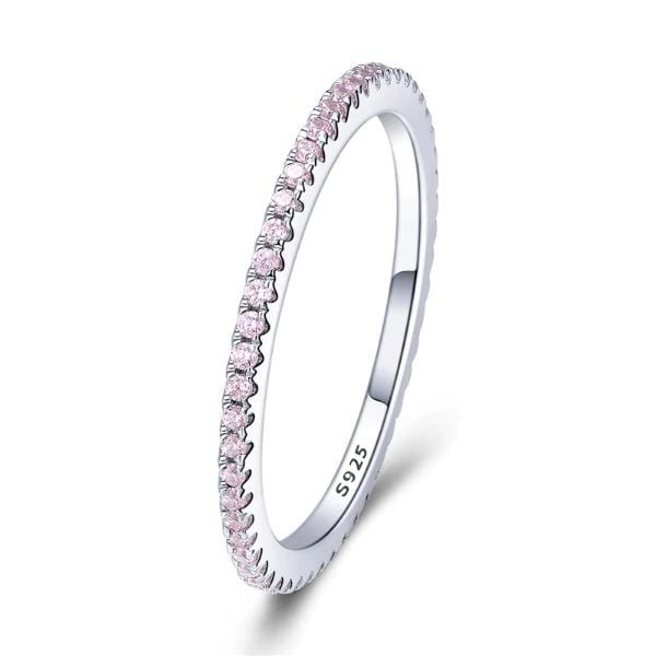 Silver Pink Crystal Studded Ring
