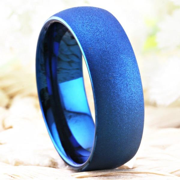 Tungsten Blue Sandblast Ring