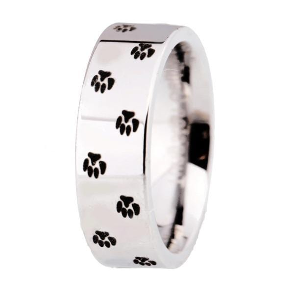 Tungsten 8mm Paw Print Silver Wedding Bands
