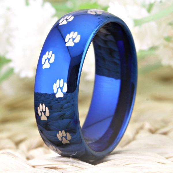 Tungsten Blue Paw Print Ring