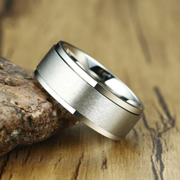 Mens 8mm Silver Spinner Rings