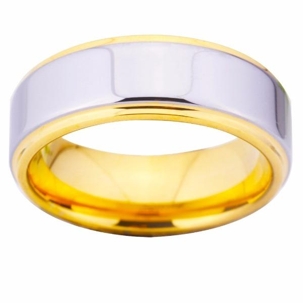 Tungsten Silver and Gold Wedding Band